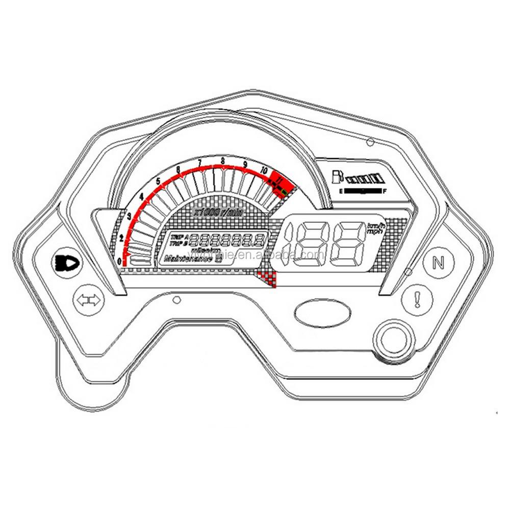 Lcd Display Motorcycle Digital Speedometer For Yamaha Fz16