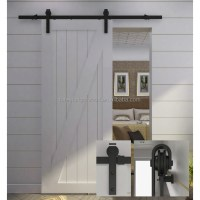 Hot Sale White Sliding Barn Door With Top Fixing Black