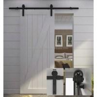 Hot Sale White Sliding Barn Door With Top Fixing Black ...