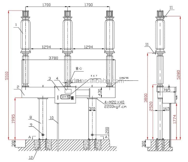 Lw25-126kv 3 Phase Pole Mounted Outdoor Sf6 Circuit