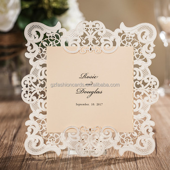 2017 Latest Design Embossed Laser Cut Wedding Invitation Card