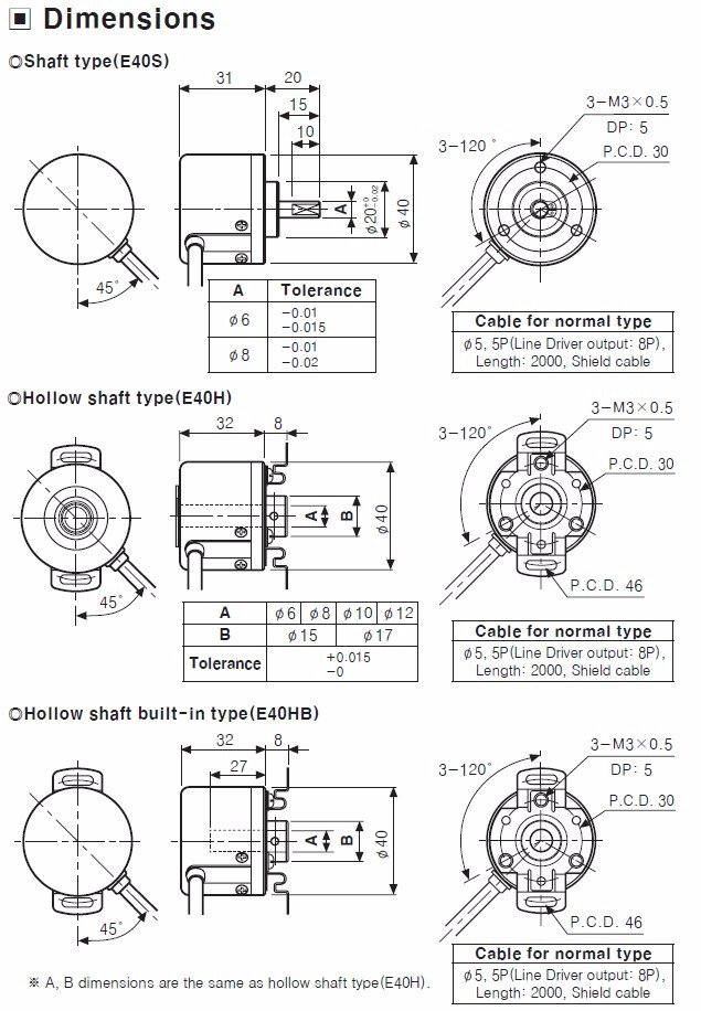 6mm 1000ppr 24v Totem Pole Output Rotary Encoder Replace