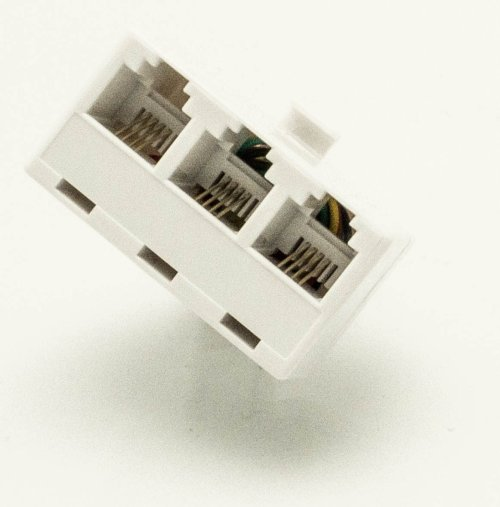 small resolution of modular triplex jack 4 4 4 phone adapter modular jack classic white allows connecting multiple phone devices to a single outlet quality sound