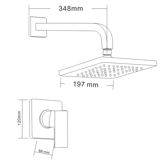 Shower Faucet Bathroom Concealed Rainfall Shower Set Bath