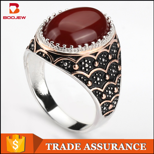 fashion jewelry mens rings with big stones platinum rings islamic silver rings for muslim men