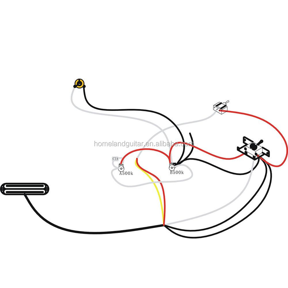 Dual Rail Single Coil Humbucker Pickup 4 Wire For Electric