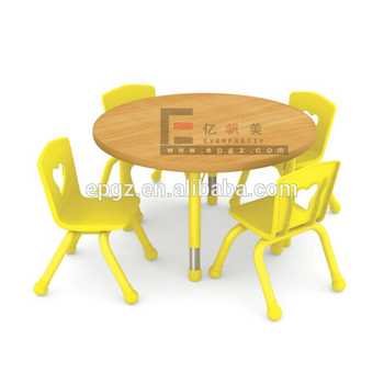 round table and chairs set garden relaxer chair covers kindergarten school sets flower for 6 kids