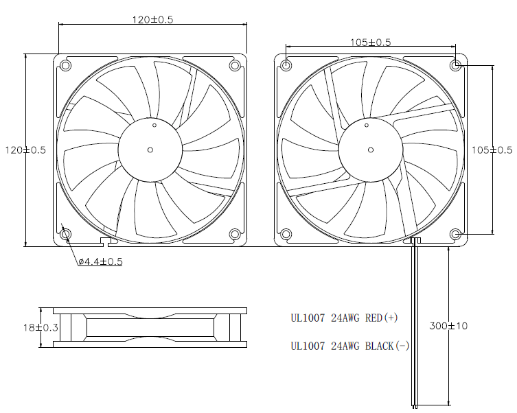 Ultra-thin Dc Brushless Cooling Fan 120mm X 120mm X 18mm