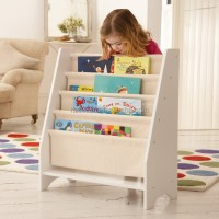5 Level Tier Wooden Childrens Canvas Book Shelf Display ...