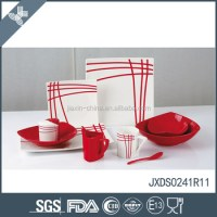 Good Quality Red Striped Stoneware Ceramic Breakfast ...