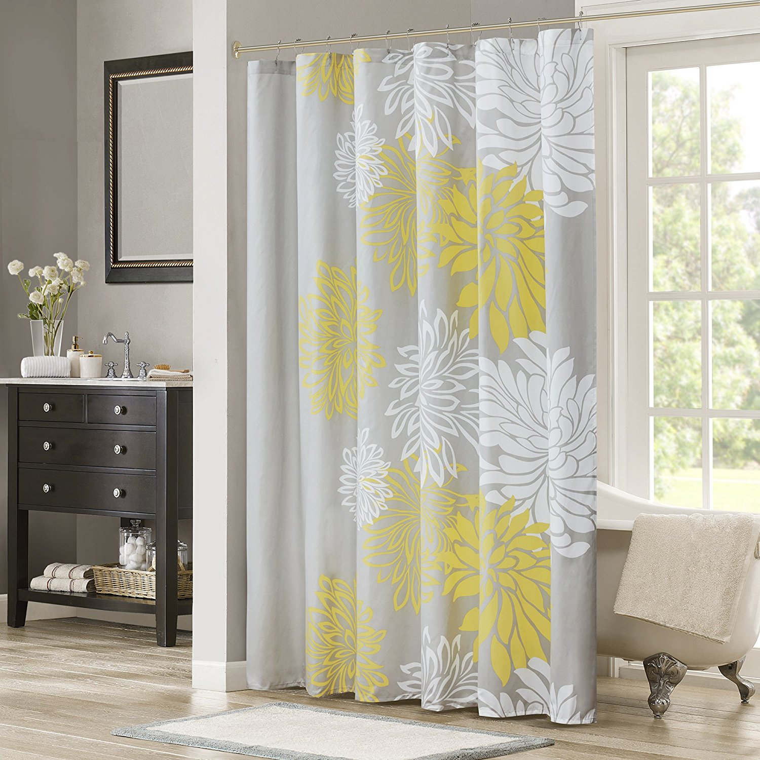 cheap grey and yellow shower curtain
