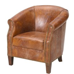 Leather Tub Chair Tall Task American Vintage Buy