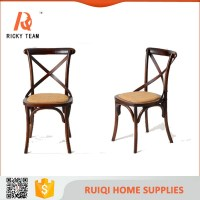 Walnut Cross Back Kitchen Chairs Rattan Seat Wood X Back ...