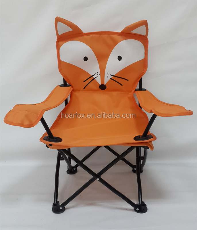 child camping chair cool office mats portable orange fox kids with carrying bag packed