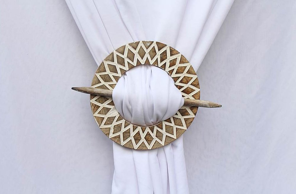 buy decorative wooden curtain tie backs