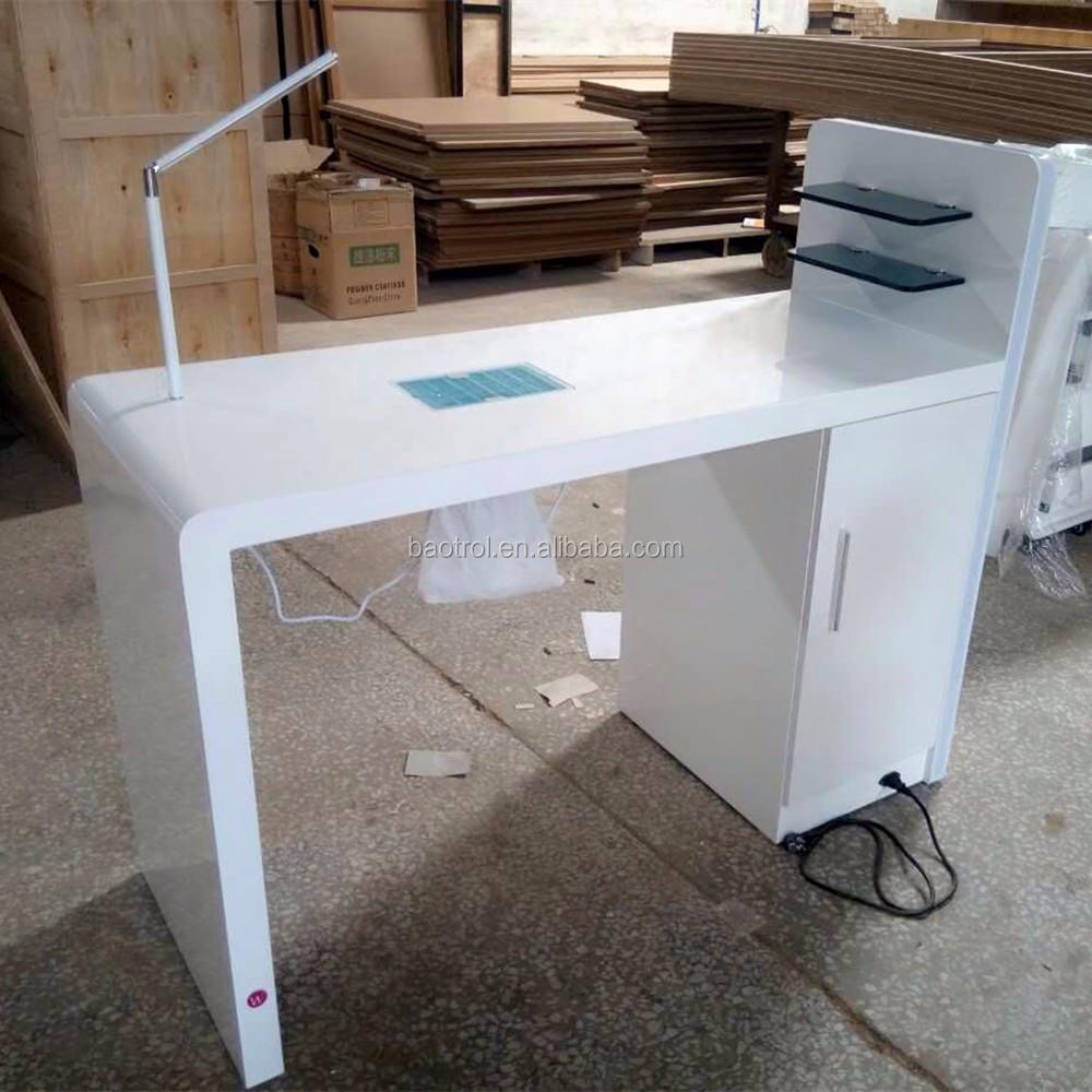 Preto painel de madeira crianas mesa manicure com unhas