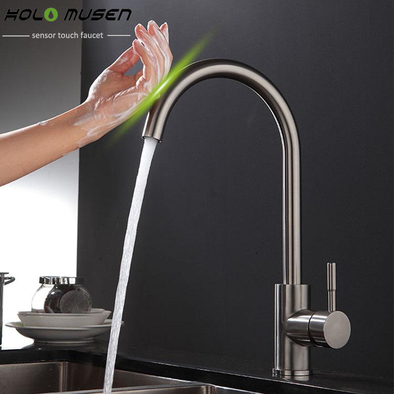 Erstaunlich Neue Ankunft Bleifreien SUS304 Edelstahl Touch Wasserhahn Küche  Touch Control Empfindlich Wasserhahn Mischbatterie Küche Touch