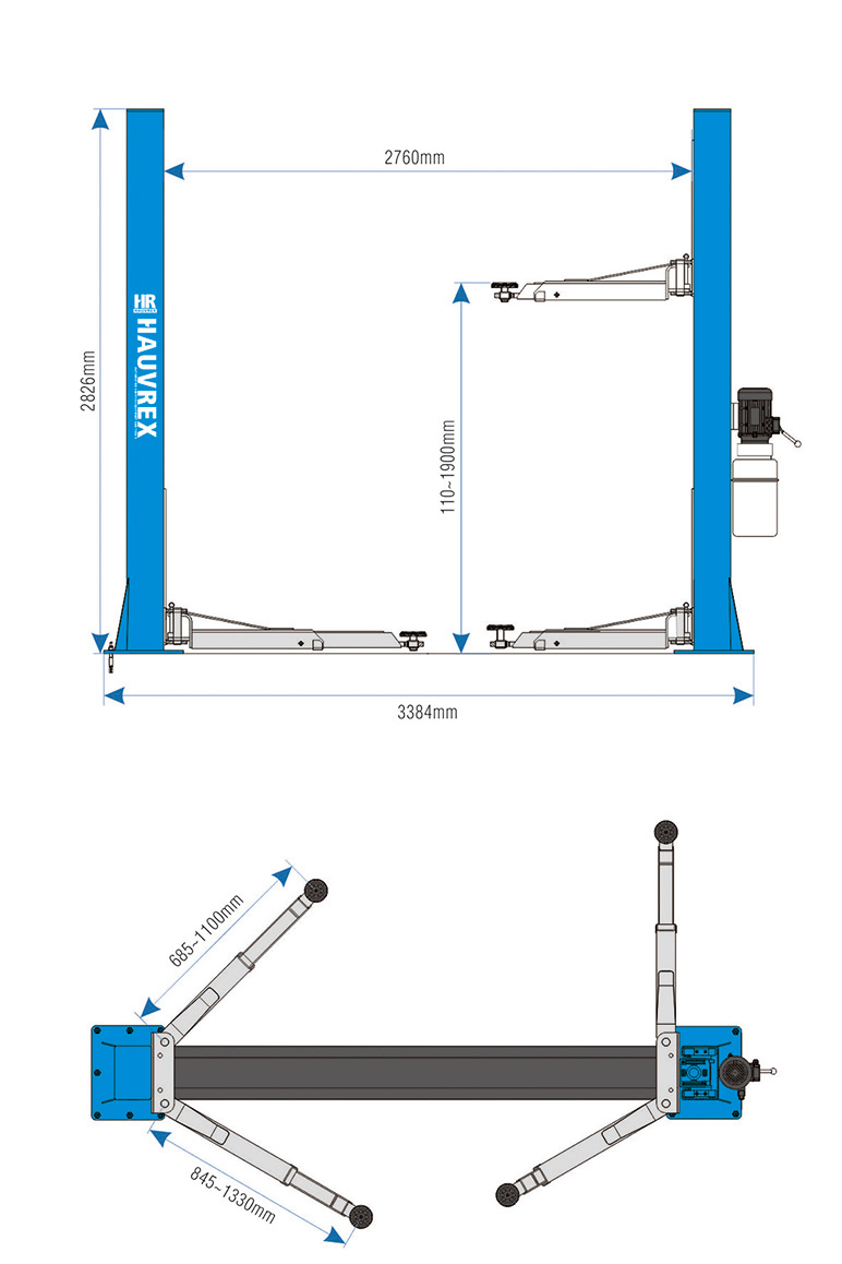 medium resolution of htl2140 4000kg lifting capacity 2 post car lift with dual side manual lock release and