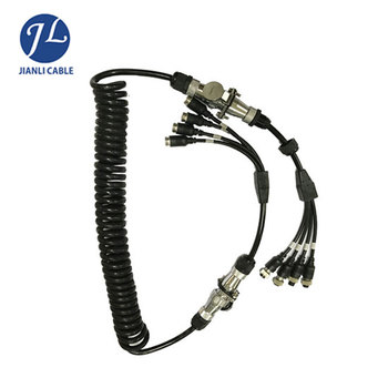 7 Pin Trailer Coiled Cable 4pin Automotive Connector For