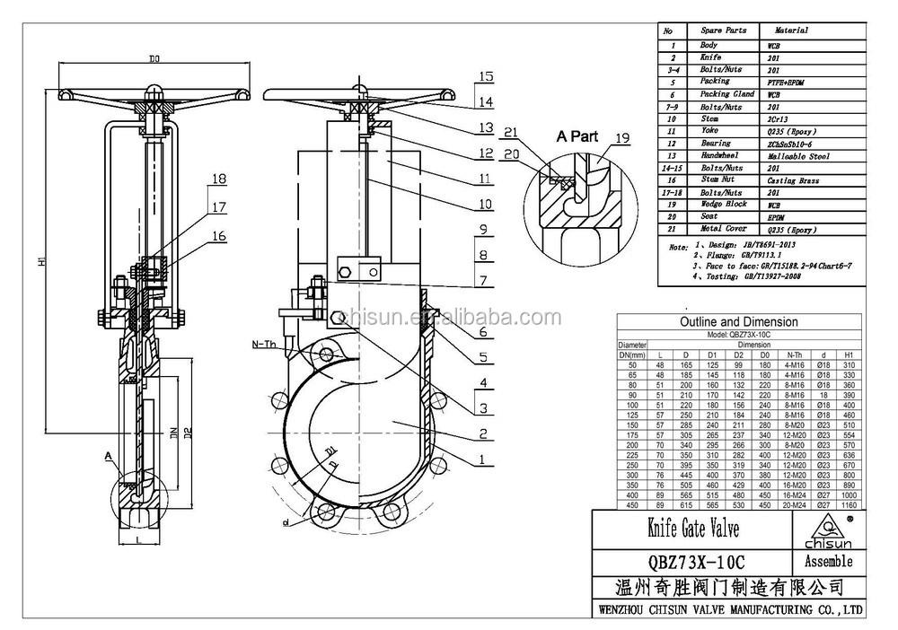 Qb Dezurik Pupl Wcb Handwheel Operated Pn10 Knife Gate
