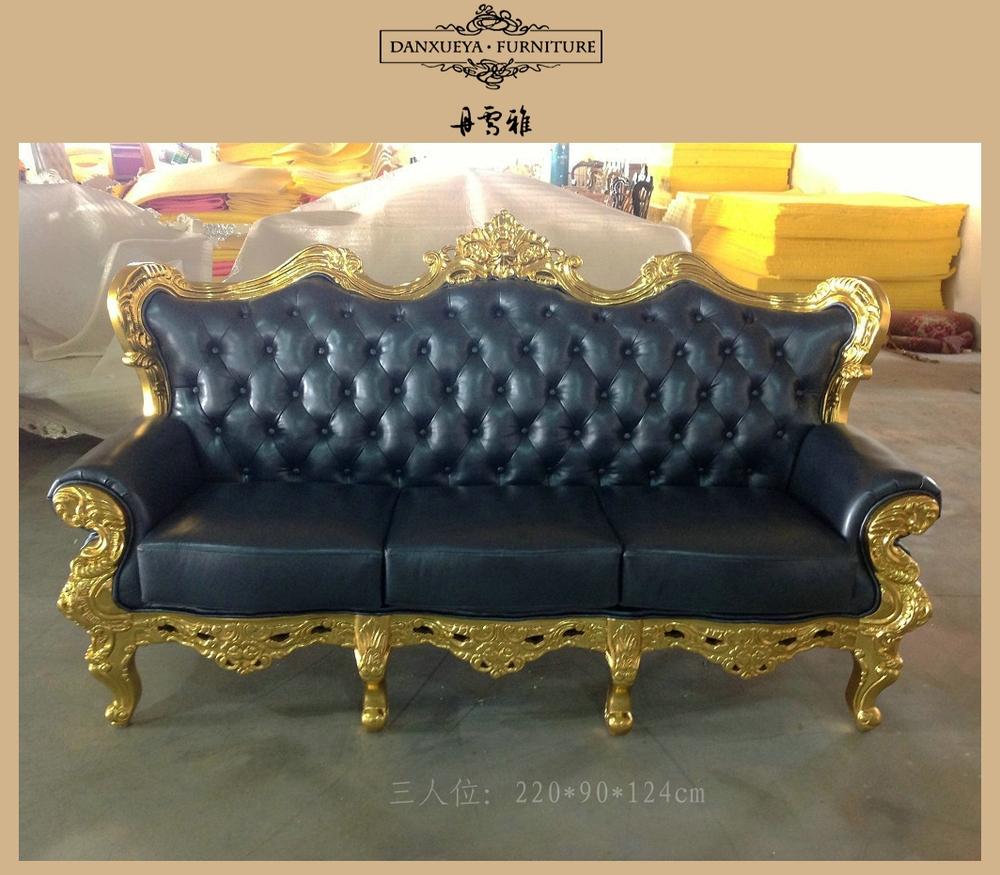 gold leather sofa set ashley furniture clearance dxy 836 antique leaf wood frame buy