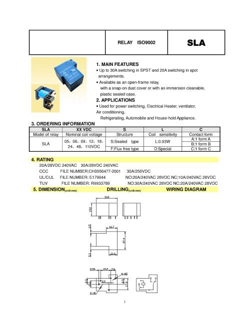 small resolution of 30a 4pin t90 power relays sla 05vdc sl a sla 09vdc