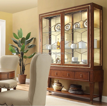 living room cabinets with glass doors decorating ideas gray walls classic dining furniture solid wood door sideboard display cabinet