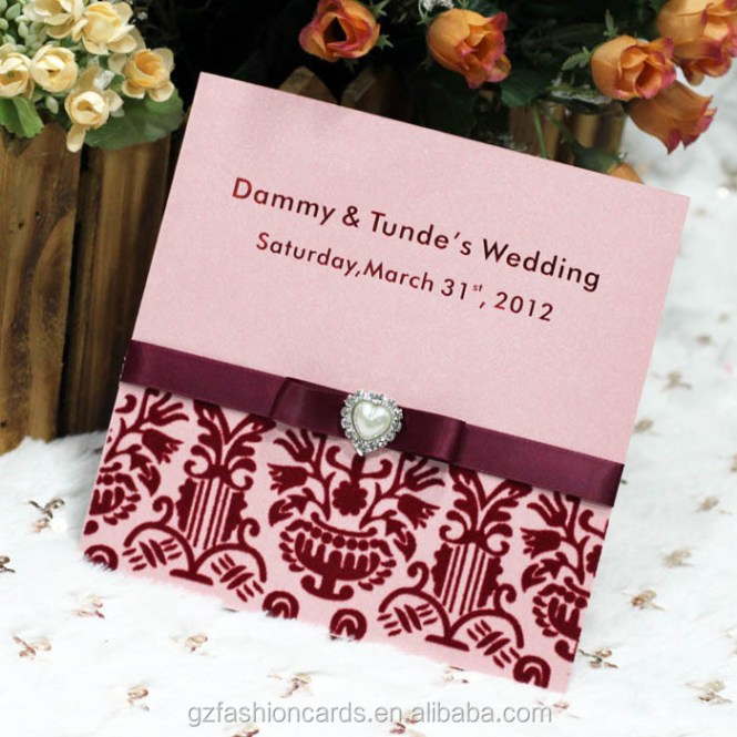 2016 Royal Indian Wedding Invitation Cards With Ribbon And Pearl