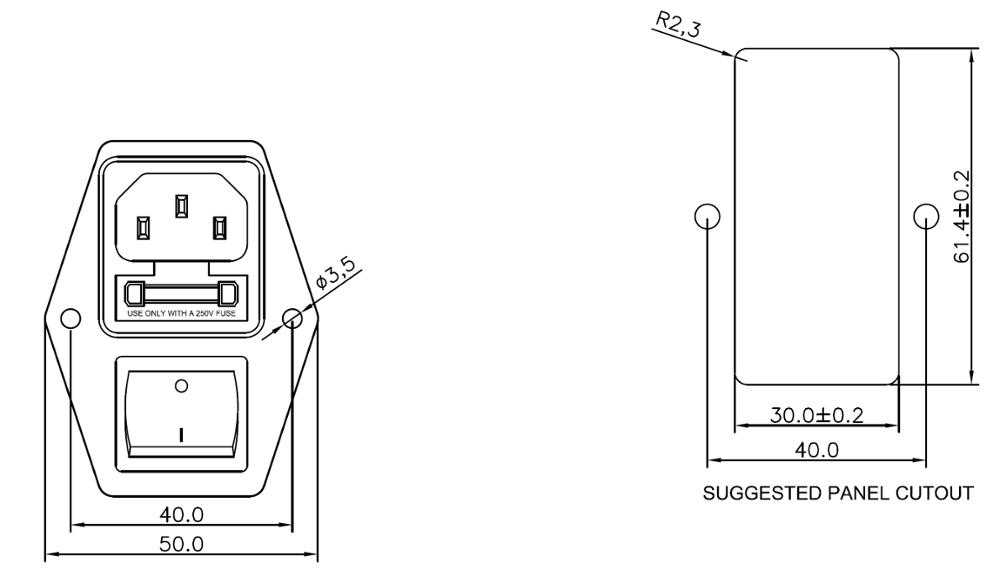 Manufacturer 120v General Purpose Emi Filterd Power Entry