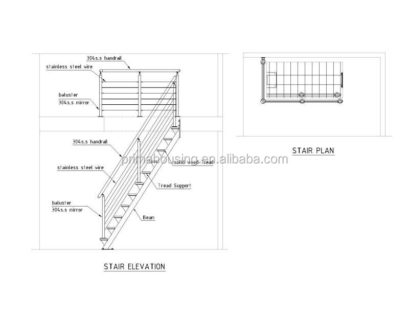 Modern Home Cable Stair Railing Wood Steel Staircase