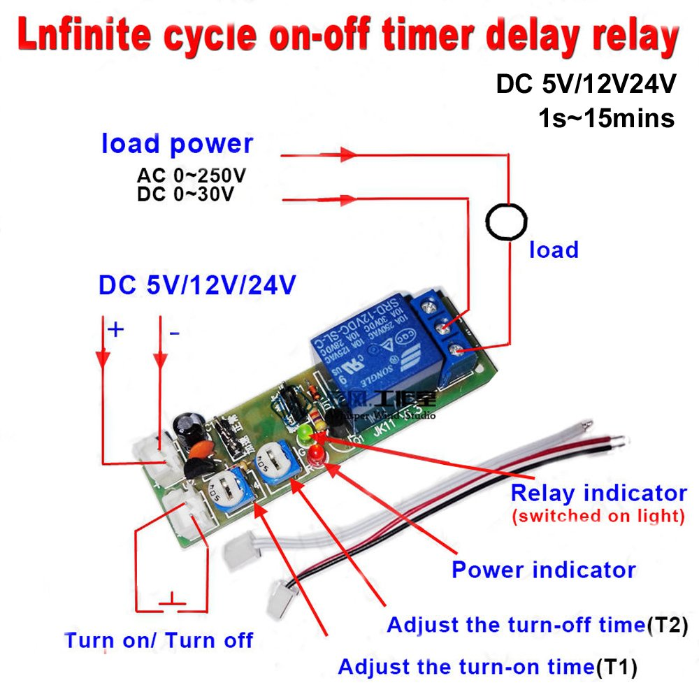 hight resolution of get quotations qianson dc 5v 12v 24v infinite cycle delay timing timer relay on off