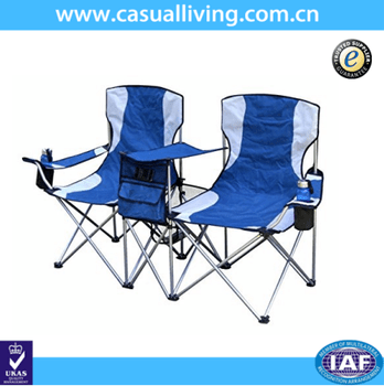 2 person camping chair papasan frame and cushion outdoor seat folding beach with tea table