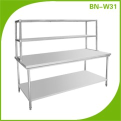 Kitchen Prep Station Outdoor Ideas Stainless Steel Table Commercial Restaurant Business With Double Over Shelf