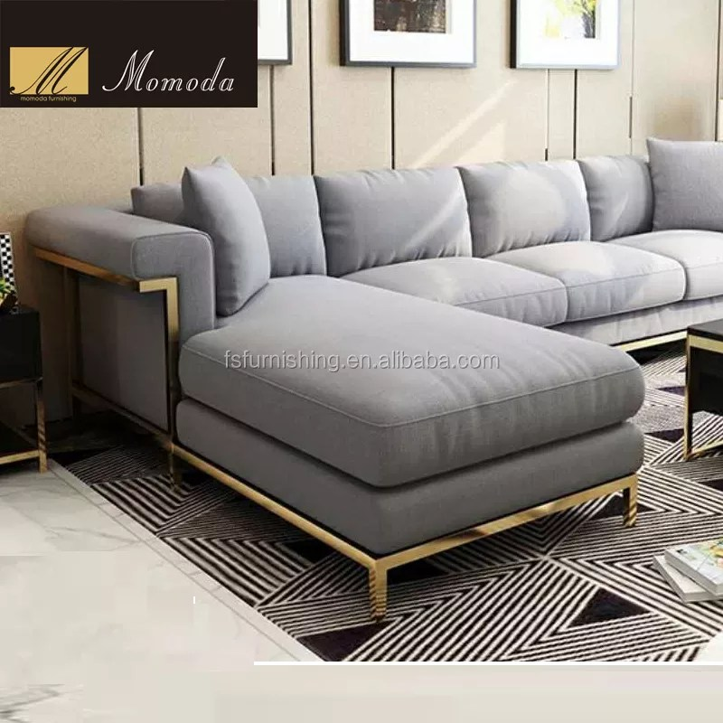 ns08 large l shape with royal chaise and golden stainless steel feet corner lazy living room sectional sofa buy ns08 large l shape living room
