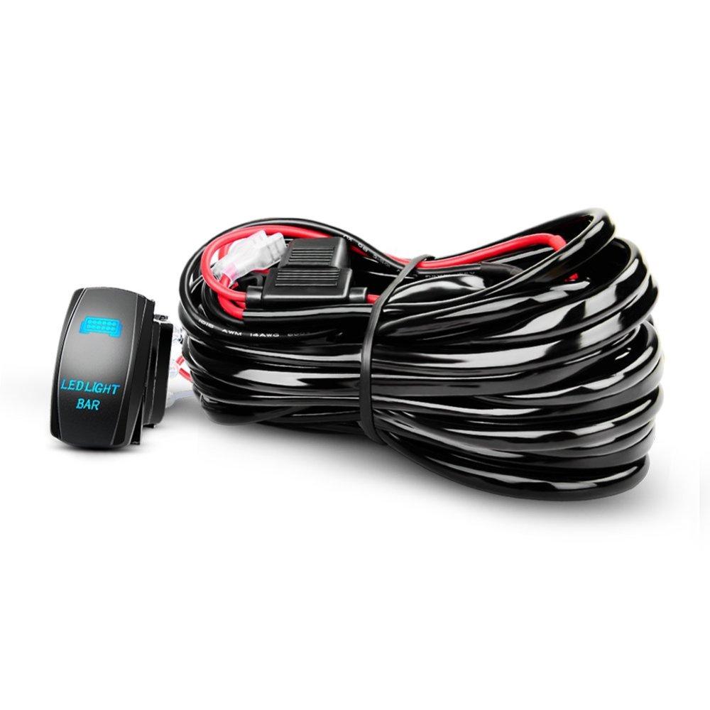 medium resolution of get quotations nilight led light bar wiring harness kit 12awg heavy duty 12v 5pin rocker switch laser on