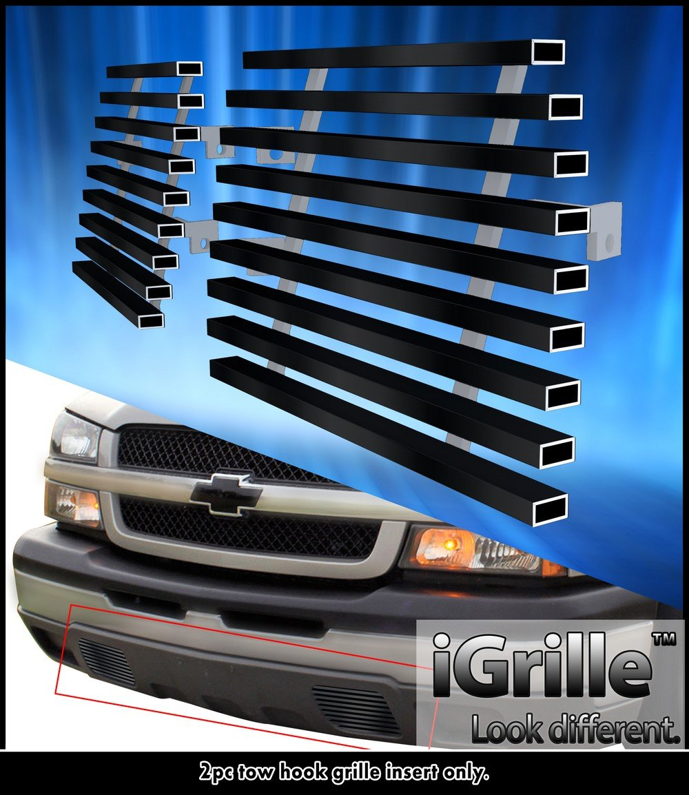 hight resolution of fits 2003 2006 chevy silverado 1500 2500 stainless black tow hook billet grille