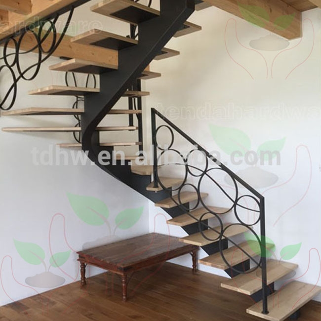 Bespoke Centre Spine Steel Structure Curved Stairs With Wood Tread | Steel Stairs With Wood Treads | Wooden Stair | Glass | Exterior | Pine Wood Tread | Typical