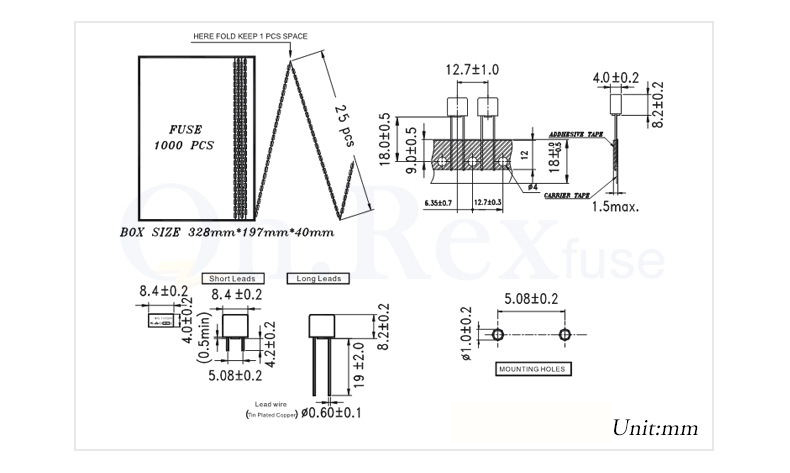 High Quality Slow Blow Micro Fuse/square Micro Fuse T3a/4a