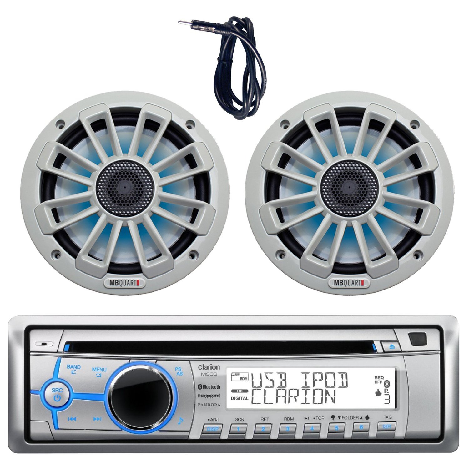 hight resolution of get quotations new clarion m303 marine boat yacht cd usb mp3 bluetooth stereo am fm