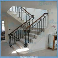 Exquisite Wrought Iron Railing Straight Staircase Design