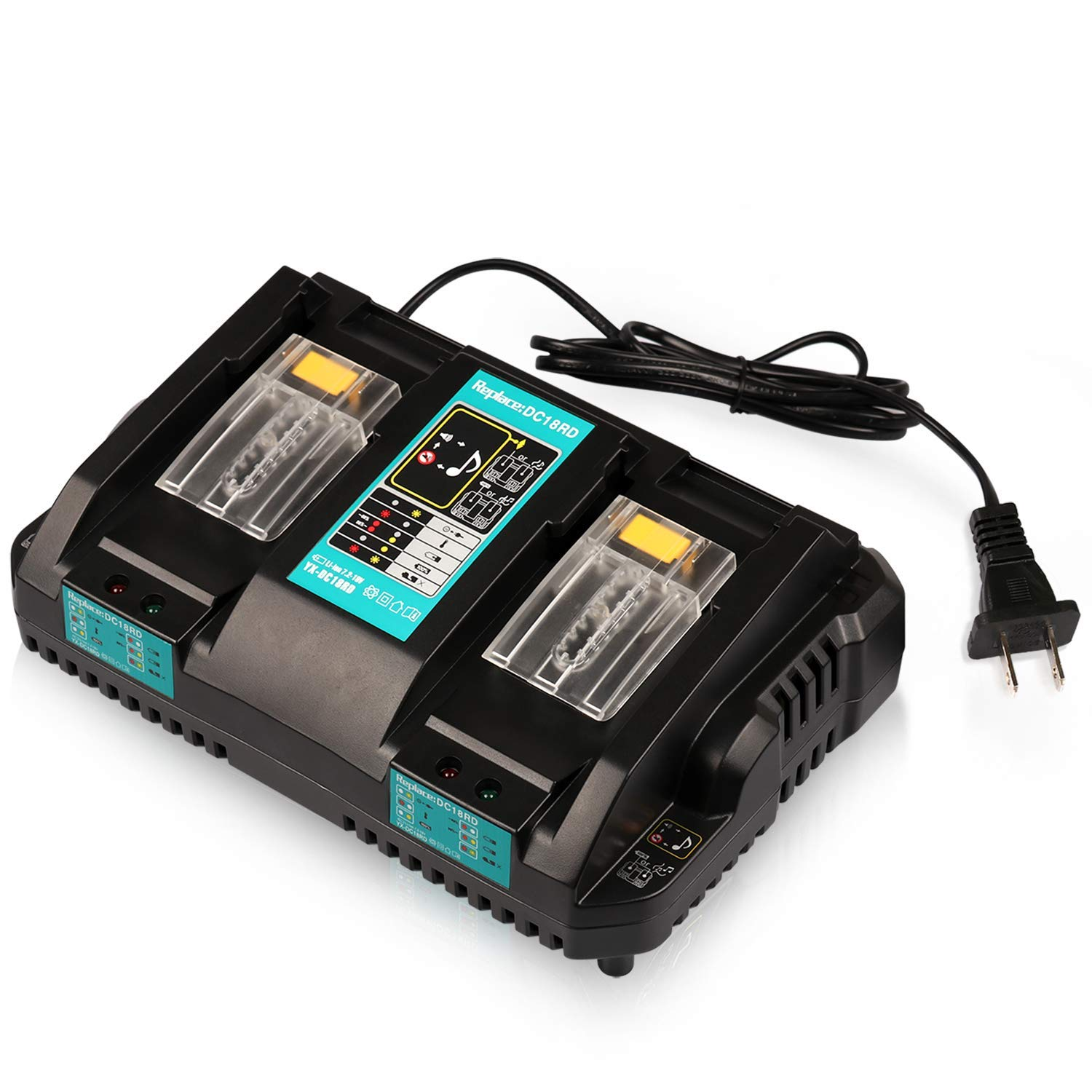 hight resolution of get quotations energy tech dc18rd battery charger dual ports fast charge 4a 120w for makita 7 2v