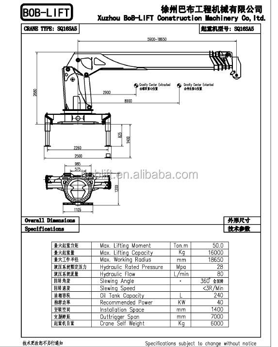 16ton Hydraulic Boom Truck Mounted Crane India Made In
