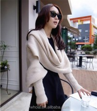 2in1 Knitted Wool Scarf Shawl With Sleeves - Buy Scarf ...