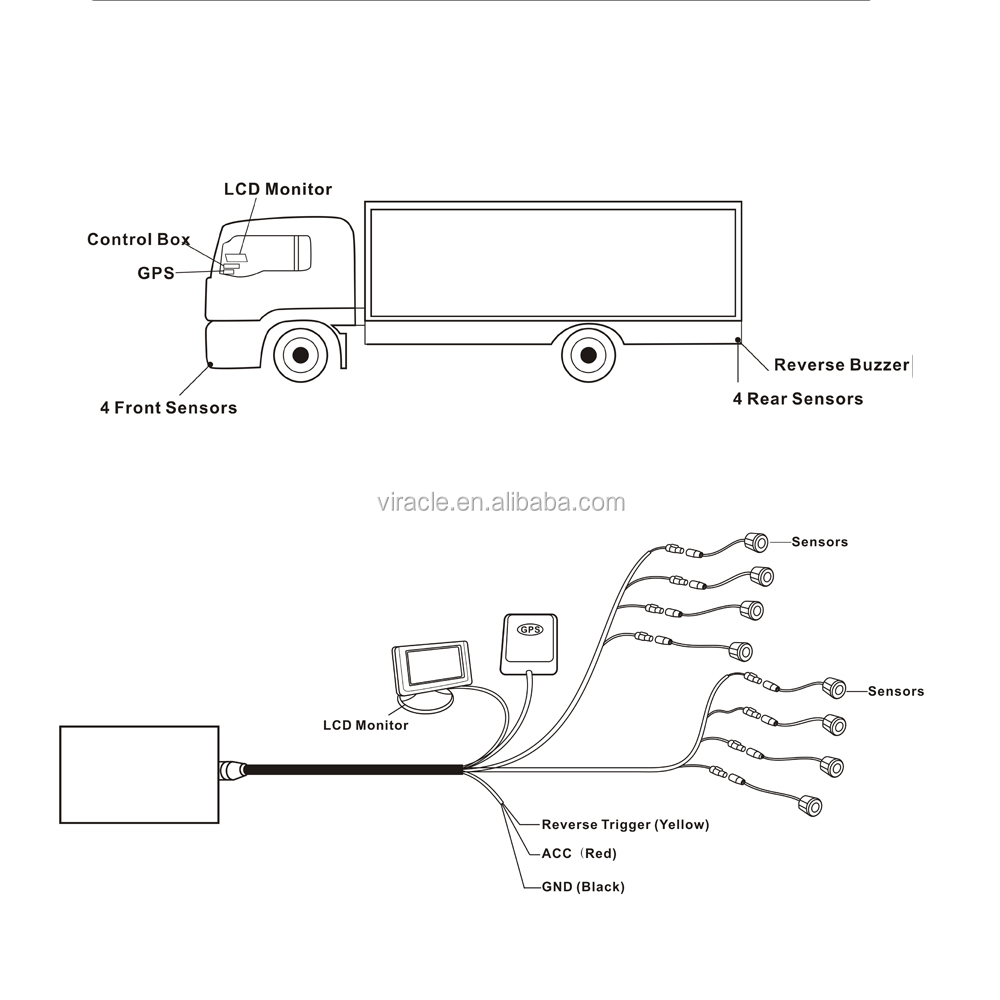 8 Front And Rear Digital Sensors Lcd Monitor Parking