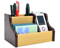 Wood Stationery Holder Wood Name Card Holder With Swivel ...