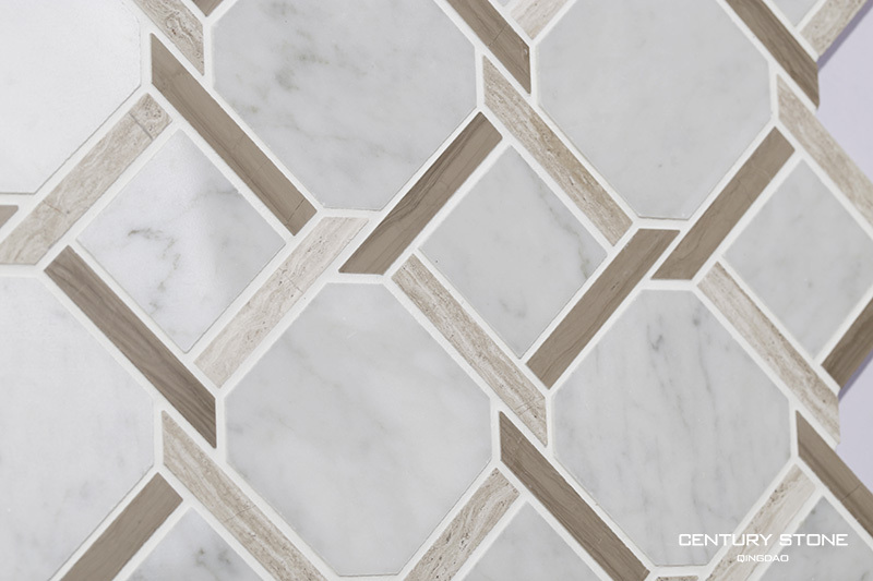 Sale Chips White Marble Mix Brown Marble Mosaic Sale Hall