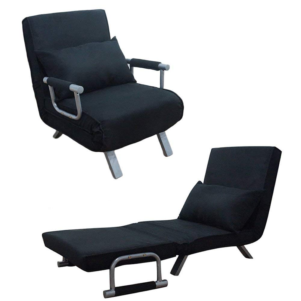 single sleeper chair swivel ashley furniture buy cirocco convertible bed w armrest pillow black folding sofa