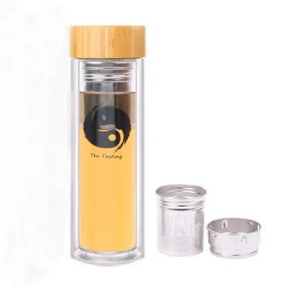 infuseur a the en verre avec filtre bouteille d eau avec couvercle en bambou a double paroi pour the fruits avec passoire buy bouteille d eau en