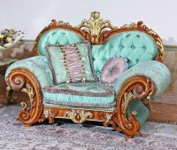 Luxury French Baroque Style Living Room Blue Sofa Set ...