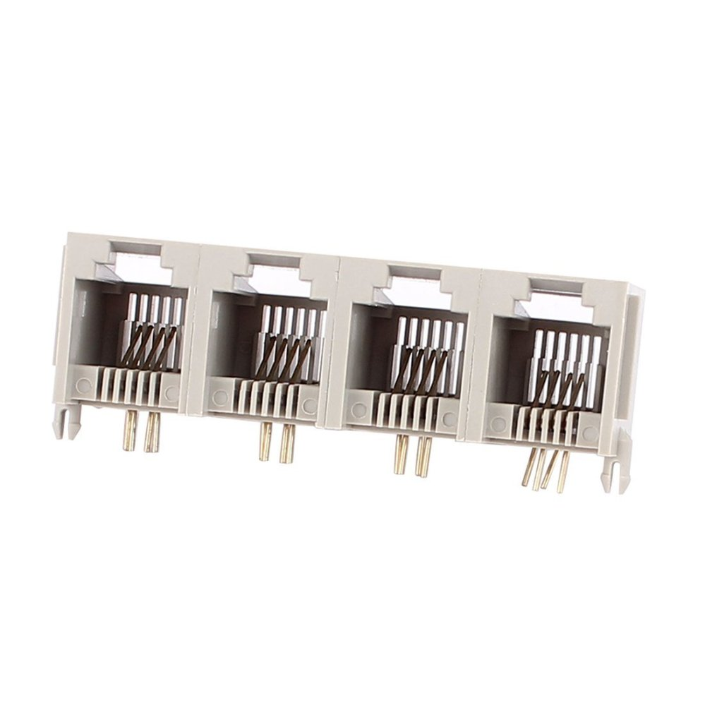 medium resolution of get quotations uxcell 4 ports rj11 6p4c 4 pins side entry modular pcb telephone jack connector